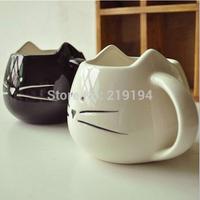 2014 New Zakka Lotion Coffee Tea Cup Black And White Cat Animal Milk Ceramic Lovers Drink Mug Cute Drinkware Creative Gifts