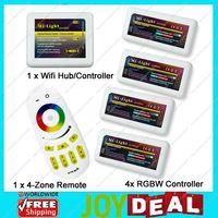 Mi.Light 2.4G 4-Zone RF Wireless Touch Screen Remote+WiFi Hub +4x RGBW LED Group Controller for RGBW or RGBWW Led Strip Light