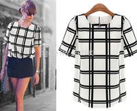 High quality Black and white plaid  blouse fashion Women casual dress chiffon tropical roupas femininas cheap clothes china