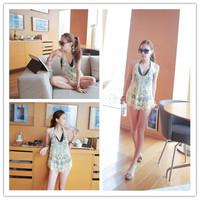 2014 Newly Women Vintage Sweet Cute Crochet Knit Floral Hollow Out Lace Slim Fit Beach Blouse Shirt 8 Color