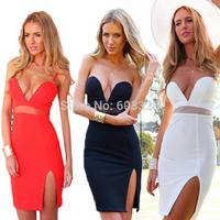 Deep V-Neck 2014 Women Sexy Strapless Backless Transparent Side Slit Midi Bodycon Dress Party Night Club Dresses YT1162