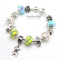 925 Silver Lovely Bear Dangle Rabbit Charms European Flower Murano Beads Pulseras Love Clasp Bracelet + Gift Pouch PBS143