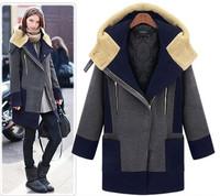 Plus Size XL,2XL,3XL,4XL,5XL Fat Women Fashion Color Blocked Thick Warm Coat Free Shipping 2692