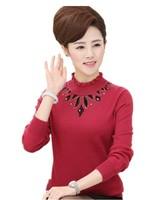 Middle-aged Women Winter Knitted Sweater , Thicken Half Turtleneck Slim Rhinestone Sweater Plus Size M-L-XL-XXL-XXXL