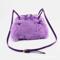 Winter real rabbit fur shoulder bag Messenger bag simple wild sweet girl leather handbag
