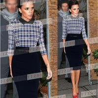 Plus Size S-XXL 2014 New European Fashion Women Elegant Plaid Patchwork Knee Length OL Celebrity Bodycon Party Evening Dresses