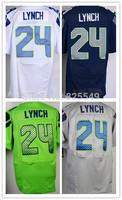 Cheap Seattle #24 Marshawn Lynch American Football Jerseys Home Navy Blue Road White Green Gray Stitched Jerseys Size M-XXXL