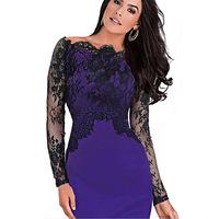 Hot selling women lace long sleeve slash neck lace stitching bodycon pencil dress women cassual work wear lace dress
