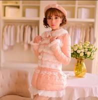 Princess sweet lolita coat Candy rain original new winter warm Japanese style rabbit fur lace bow cotton-padded jacket pink coat
