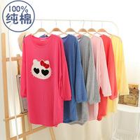 Hot selling women 100% cotton long sleeve night gown cartoon panda candy color comfortable sleepshirt