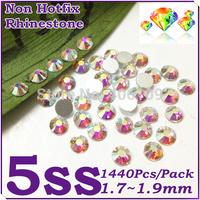 Super Shiny 1440PCS SS5 (1.7-1.9mm) Glitter Non Hotfix Crystal White AB Color 3D Nail Art Decorations Flatback Rhinestones