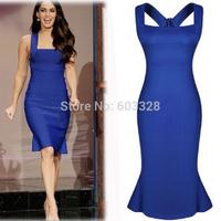 2014 Women Long Solid Sexy Slim Midi Ruffles Bodycon Dress Off Shoulder Cocktail Party Night Club Dresses Plus Size XXL YT1157