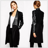 Free shipping ! New Autumn and Winter Women's Long Woolen Coat Stitching Slim Woolen Coat