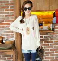 9655 women's loose vintage onta flowers o-neck sweater female outerwear