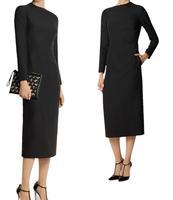 Free Shipping Winter Plus Size Professional Women Fashion Personality Slim Plus Velvet Dress , Vintage Mid Calf Dresses