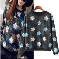 Korean Fashion Flowers Print Girl Loose Hoodies Long Sleeve O Neck Plus Size Women Boutique Sweatshirts YS93229