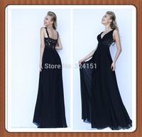 Elegant 2014 Deep V Neck Chiffon Lace Evening Dresses sleeveless Floor Length Ruffles Empire Waist Party Gowns