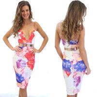 Sexy Women Fashion Vintage Floral Printed Beach Dress V Neck Strap Summer Bodycon Clubwear Dress Vestidos