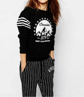 Stylish Brief All Match Girl Streetwear Hoodies Long Sleeve O Neck Women Letters Print Pullovers Black YS93235