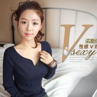 S,M,L,XL,XXL,XXXL,plus-size New 2015 Women's cotton V-NECK t-shirt sweater Pullovers Tops 2