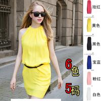 Summer women's 2015 fashion halter-neck sleeveless tank dress slim basic chiffon one-piece dress