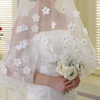 Wedding accessories  lace edge flowers  long design veil sweet bridal accessories