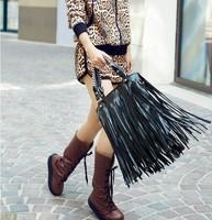 Black long tassel bag young girl shoulder bag handbag women's PU one shoulder cross-body dual small bags