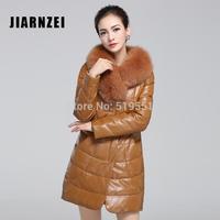 The new 2014 Sheep skin leather leather coat Female fox collars Leather jacket female coat Down jacket