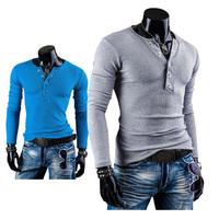 Fashion Mens Casual T-Shirts Long Sleeves Undershirts V-Neck Tee Tops Cotton  Drop Free Shipping
