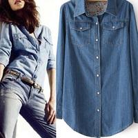 Women Blue Denim T-shirts Long Sleeve Tops Casual Button Front Blouse Tee Shirt Free Drop Shipping Y9