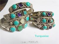 BB-266   Tibetan silver inlaid 2 Green Turquoise Beads bangle,Nepal vintage handmade open cuff bangls,2014 Spring New