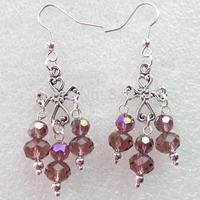(Min.order 10$ mix)One Pair Super Star Fashion Girl Tibetan Cross With Purple Crystal Handmade Earrings Wholesale Price