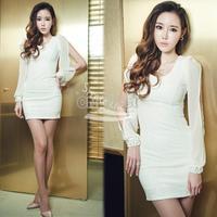 New Women sexy Long Sleeve Sexy Cotton Chiffon Dress Black White free shipping 7535