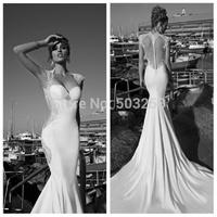 DWD17 2015 Elegant Galia Lahav Backless See Through Satin Wedding Dress Bridal Gown