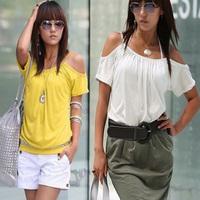 Women's Off Shoulder Blouse Casual Short Sleeve Blouse Shirt T-shirt Tops Free Drop Shipping Y9