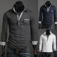 New Mens Slim Fit Lapel Pocket Long Sleeve T Shirt 5043