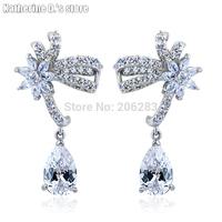 Top quality Fashion elegant crystal Drop earring zircon drop earring flower earrings CEC_00091
