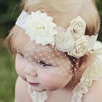 New Lace Baby Headband Birdcage Veil Shabby Chic Flower Girl Headband Vintage Christening Baptism Hair Band Photography Props