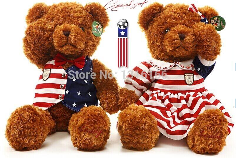 70cm 0.7g/pcs 2pcs/lot American star flag fashion design Doll plush toy bear boy and girl dress coat clothes dolls birthday gift(China (Mainland))