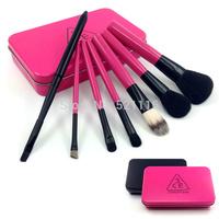 Korea 3CE 7pcs makeup brush set red and black makeup brush box,treval makeup brush