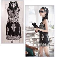 New 2013 Women's Floral Classic Vintage Collar Exotic Mini Dress White, Black 3166