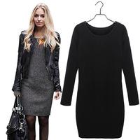 Hot Sale!! Women Winter Dress  New Fashion Pure Color Casual Dress Long Sleeve Autumn Dresses 3XL Vestidos #ZJJ257