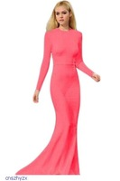 New vestidos de fiesta 2015 Pink Sweeping floor length gown elegant long sleeve women sexy evening dresses for new year LC6832