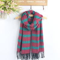 Fashion Scarf classic strip-line shawl wrap women winter scarf Tassel