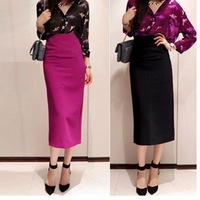 FREE SHIPPING long slim high waist zipper 3D decoration vintage high-end slit skirts