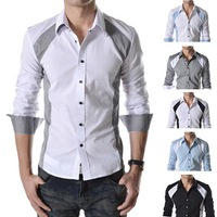 New Classical Man Turn Down Collar Color Patchwork Long Sleeve Slim Shirt 760-P35