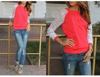 Fashion Autumn Women's Cotton Loose Patchwork Hoodies Letter Sweatshirt Lace Stitching 3D Flowers 5 color