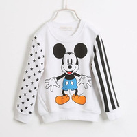 spring new fashion 2015 kids unisex boys girls long sleeve cartoon minnie casual t-shirt child cotton star print t shirts clothe