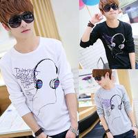 Mens Cotton Casual T-Shirt Round Neck Shirts Tops Long Sleeve T-shirt M L XL  Free Drop Shipping Y9