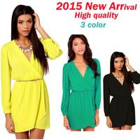 2015 cheap casual women office dress summer vestidos casual longo verao dress china woman long sleeve v-neck chiffon dresses